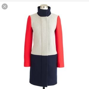 J Crew petite colorblock funnelneck coat